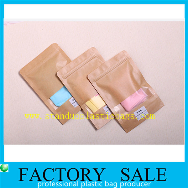 Brown Ziplock Kraft Paper Pouches For Underwear Packaging , Stand Up Style